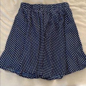 Blue and white Polkadot skirt